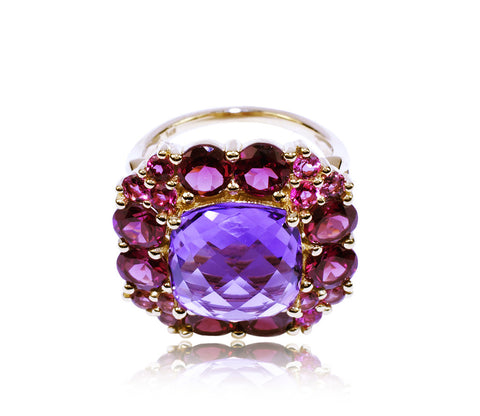 Multi-Gemstone Flower Cocktail Ring