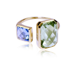 Green Amethyst & Swiss Blue Topaz Ring