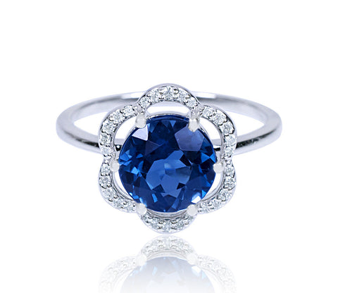 London Blue & Diamond Flower Ring