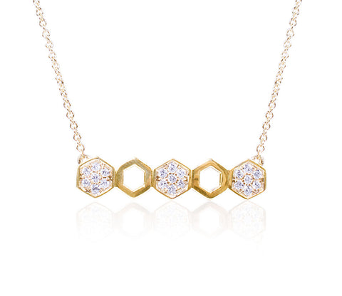 5 Hexagon Diamond Necklace