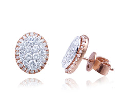 Diamond Oval Shape Stud Earrings