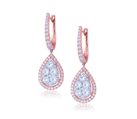 Rose Gold Diamond Drop Earrings