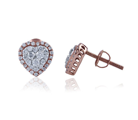 Heart Diamond Stud Earrings