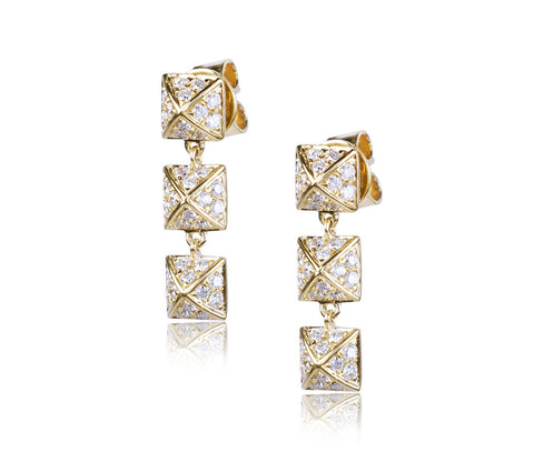 Diamond Triple Pyramid Earrings