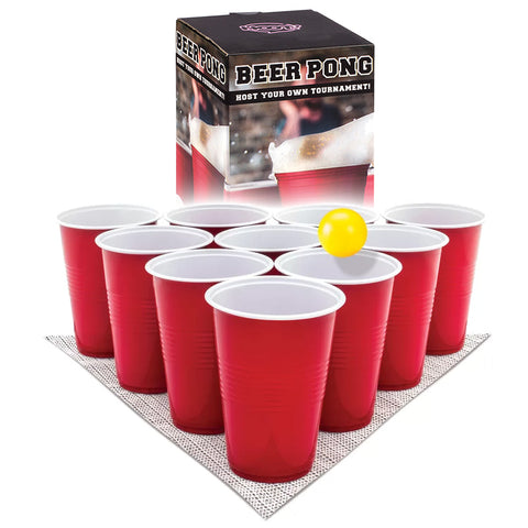 HOOT BEER PONG SET - 12 CUPS & 2 BALLS INCL