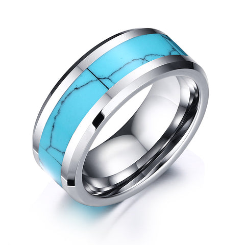 Mens Rings Tungsten Carbide with Blue Crack Pattern Natural Stone Inlay Beveled Edges Wedding Bands Ring for Men Fashion Jewelry - Bingoshop