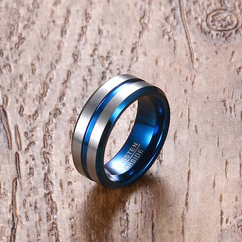 Mens Ring : Tungsten Carbide Wedding Bands / Male Blue Line Groove - Bingoshop