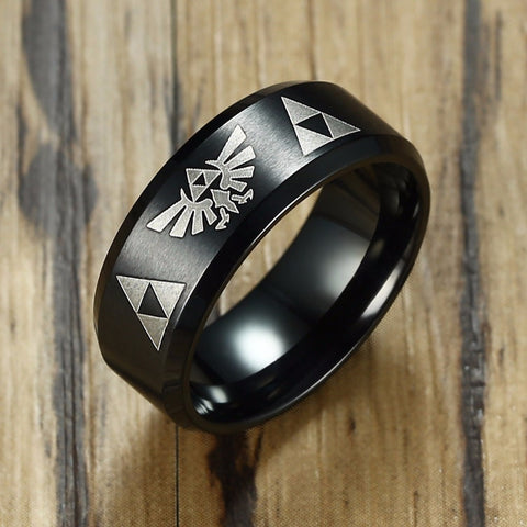 The Legend of Zelda Ring : Stainless Steel Triforce Costume Bands Black Beveled - Bingoshop