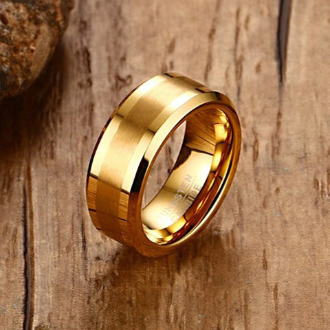 Mens Rings : 8MM Tungsten Carbide Gold-Color Ring - Bingoshop