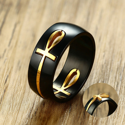 Men's Two Tone Cut out Ankh Egyptian Cross Ring for Men Stainless Steel Detachable Allah Black Religious Band Male Jewelry - Bingoshop