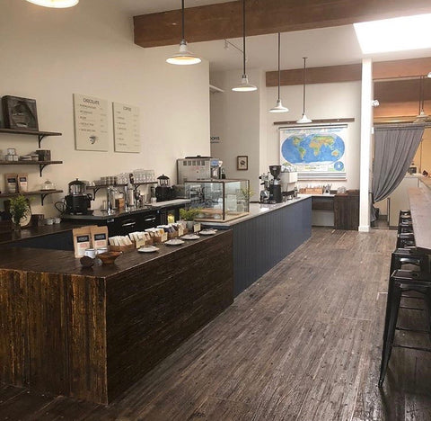 Inside image of woodblock chocolate cafe in NE portland