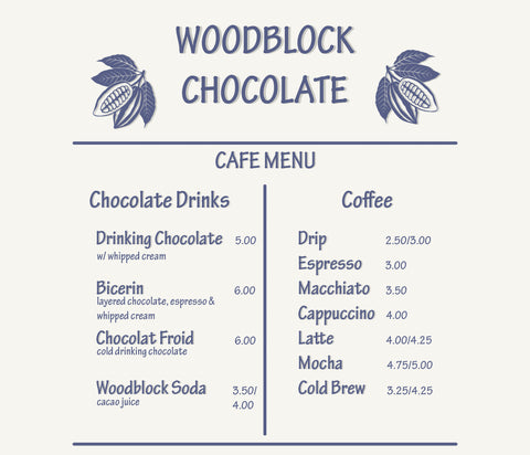 Woodblock Chocolate Cafe Menu