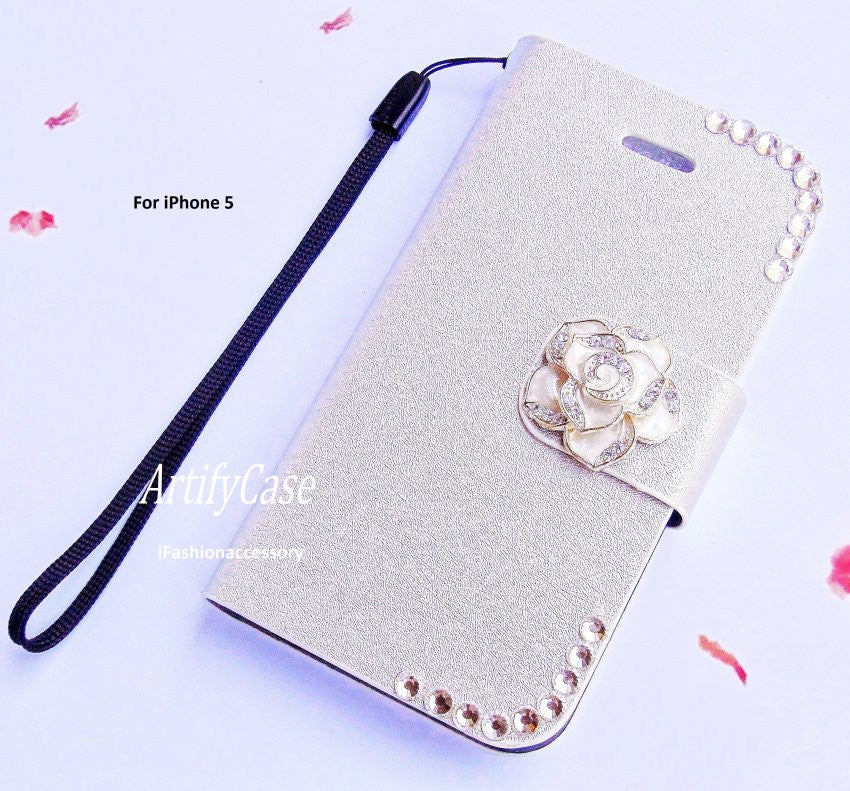 premium selection e3609 e4a3d Silver iPhone 5 wallet, Floral iphone 5s pouch, Rhinestone phone cover,  Crystal iPhone flip case