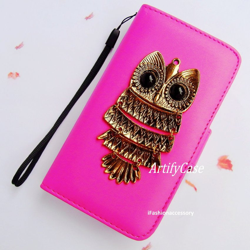 OWL Samsung Galaxy S4 case, pink Samsung S3 wallet,galaxy note 3
