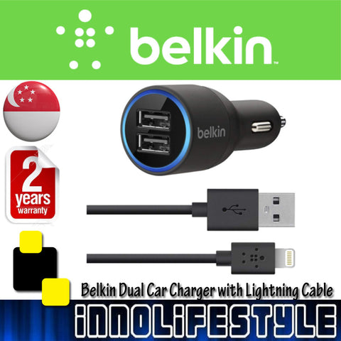 Belkin Dual USB Car Charger with Lightning Cable