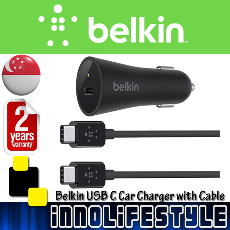 Belkin USB-IF Certified USB-C (Type C) Car Charger with 4-Foot Charge Cable ★2 Years Warranty★