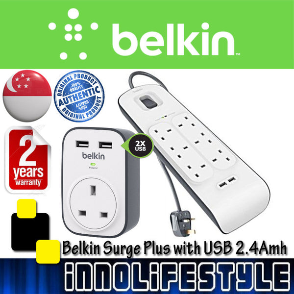 Belkin 2M Surge Protection Strip with 2 USB Ports ★2 Years Warranty★