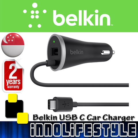 Belkin USB-C Car Charger with Hardwired USB-C Cable and USB-A Port ★2 Years Warranty★