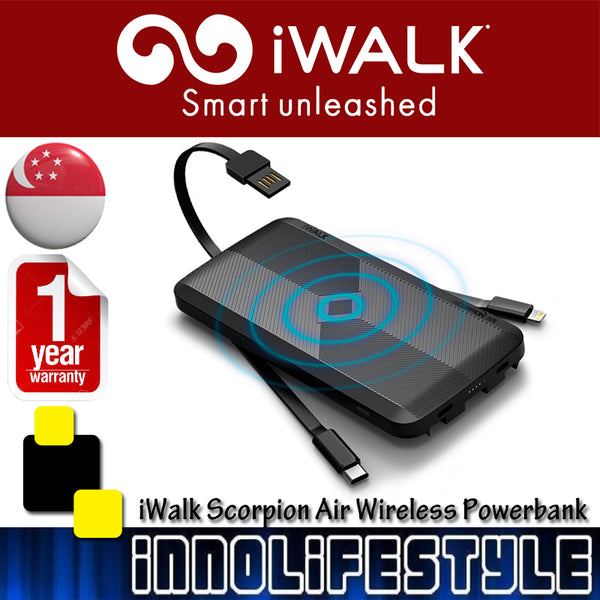 iWalk Scorpion Air 8000mAh Wireless Powerbank with built in cables★1 Year Warranty★