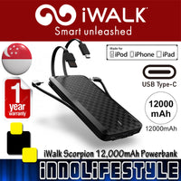 iWalk 12,000 mAh Powerbank with USB-C/Lightning/Micro-USB ★2 Years Warranty★