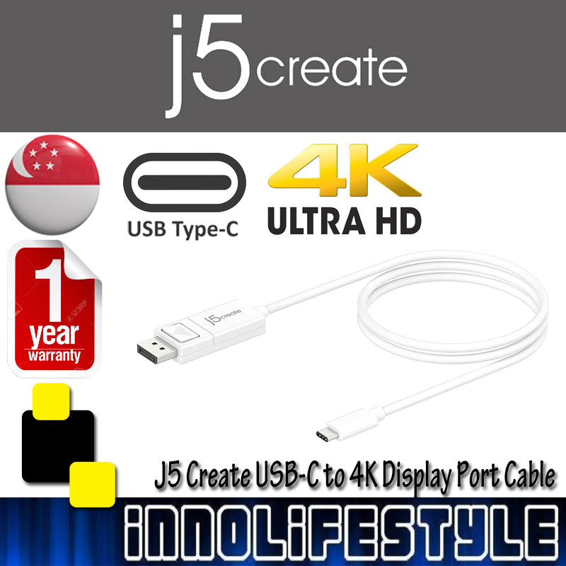 J5 Create JCA141 USB-C to 4K Display Port 4 feet Cable ★1 Year Warranty★