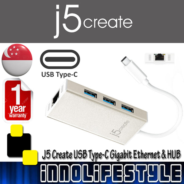 J5 Create JCH471 USB Type-C Gigabit and Ethernet HUB Multi Adapter ★1 Year Warranty★