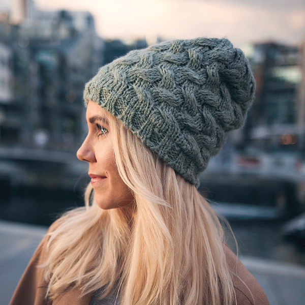 Adult Reflective Knit Hat (Sage)
