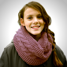 Adult Reflective Knit Loop Scarf (Old Mauve)
