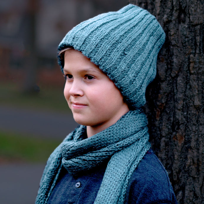 Bundle: Hat & Long Scarf in Pond Blue