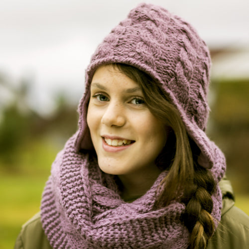 Bundle of scarf and hat w/earflap in mauve