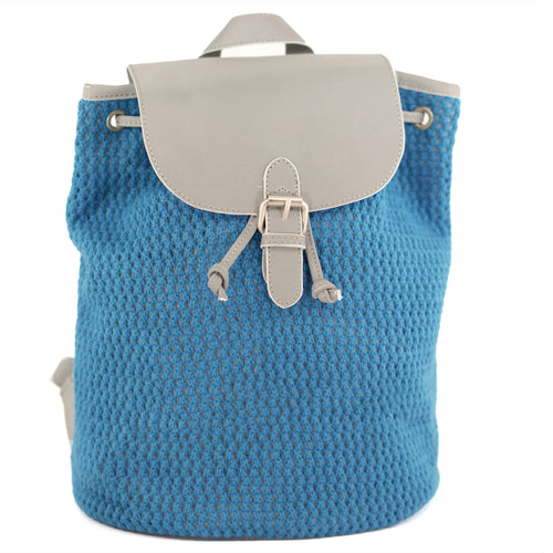 Reflective Knitted Backpack in Blue