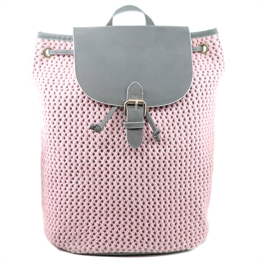 Reflective Knitted Backpack in Pink