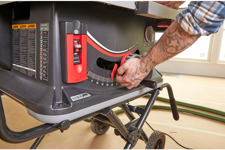 SawStop Jobsite Saw Pro One Turn Elevation, Squeeze to Tilt and Micro Angle Adjustment Knob