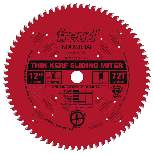 Thin Kerf Sliding Compound Miter Saw Blade with Permashield Coating - Freud - OakTree Supplies