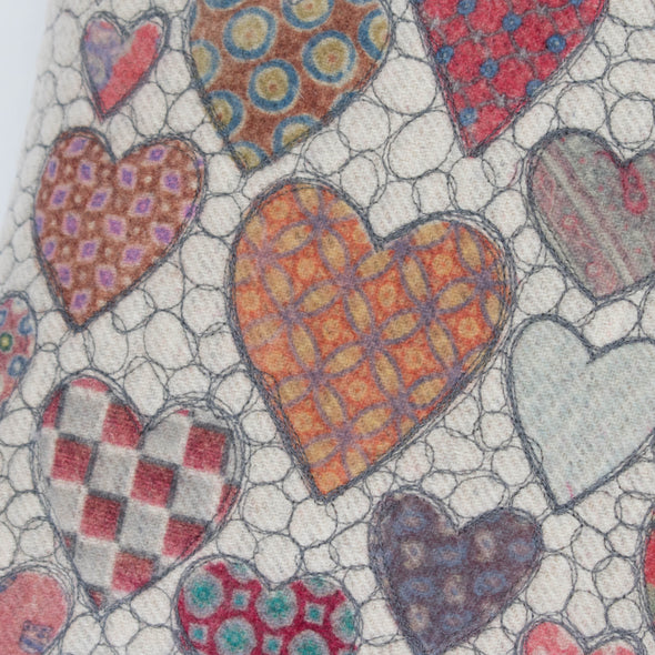 Hearts = Love Tie Prints Cushion • 15x22 D