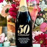 50 & still Fabulous! Etched Wine