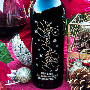 Graceful Holidays Etched Wine