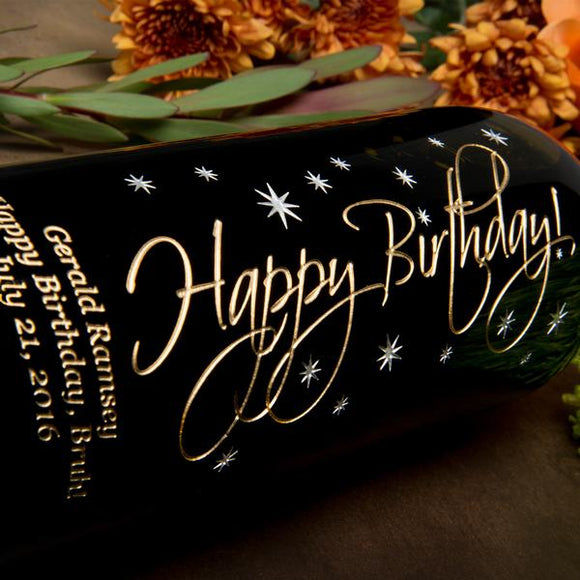 Graceful Happy Birthday Etched Wine