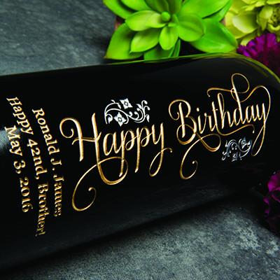 Joyful Happy Birthday Etched Wine