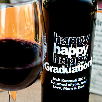Triple Happy Graduation! Etched Wine