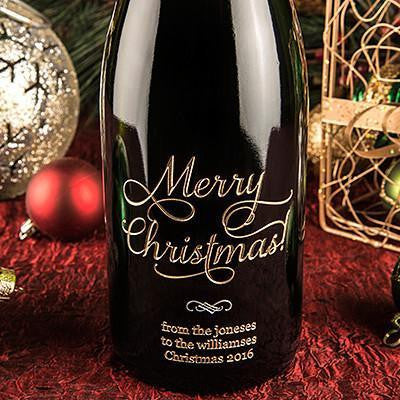 Joyful Merry Christmas Etched Wine