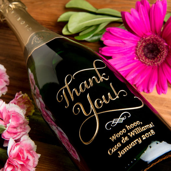 Joyful Thank You Etched Wine