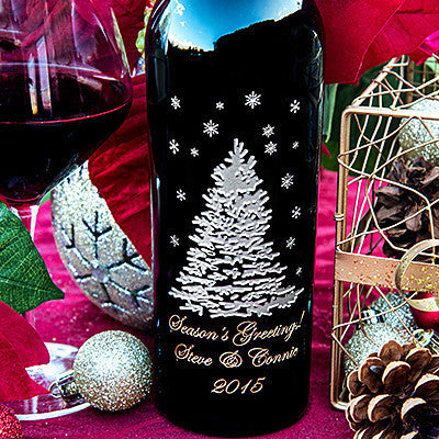Shimmering Tree in Winter Etched Wine