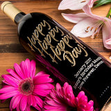Happy Happy Happy Day Etched Wine