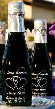 Two Hearts One Love Etched Favor
