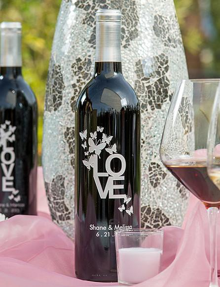 Love & Butterflies Etched Wine