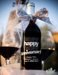 Happy Happy Happy Anniversary Etched Wine