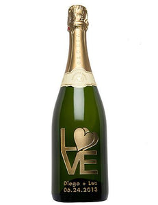 Love & Hearts Etched Wine