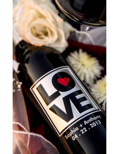Love & Heart Etched Wine