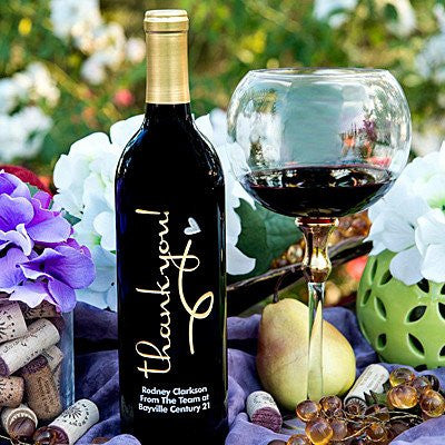 Thank You Swirl Heart Etched Wine